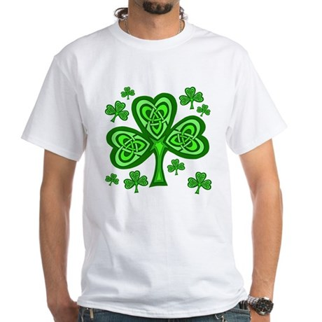 Celtic Shamrocks White T-Shirt
