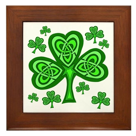 Celtic Shamrocks Framed Tile