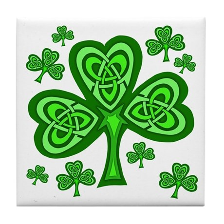 Celtic Shamrocks Tile Coaster