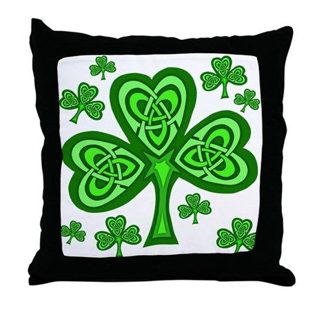 Celtic Shamrocks Throw Pillow