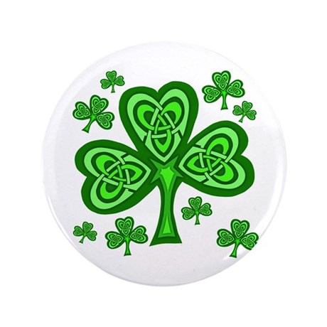 "Celtic Shamrocks 3.5"" Button"