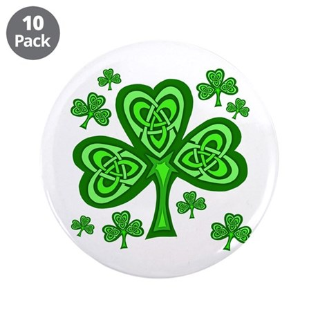 "Celtic Shamrocks 3.5"" Button (10 pack)"