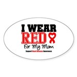 I Wear Red Mom Oval Sticker
