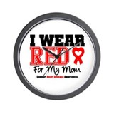 I Wear Red Mom Wall Clock