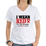 I Wear Red Grandpa Women's V-Neck T-Shirt