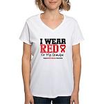 I Wear Red Grandpa Women's V-Neck T-Shirt