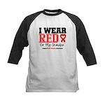 I Wear Red Grandpa Kids Baseball Jersey