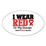 I Wear Red Grandpa Oval Sticker