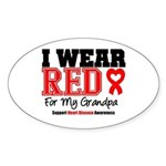 I Wear Red Grandpa Oval Sticker (50 pk)