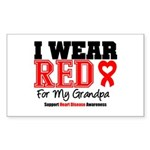 I Wear Red Grandpa Rectangle Sticker