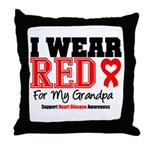 I Wear Red Grandpa Throw Pillow