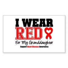 I Wear Red Granddaughter Rectangle Decal
