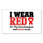 I Wear Red Granddaughter Rectangle Sticker