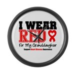 I Wear Red Granddaughter Large Wall Clock
