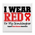 I Wear Red Granddaughter Tile Coaster