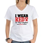 I Wear Red Daughter Women's V-Neck T-Shirt