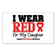 I Wear Red Daughter Rectangle Decal