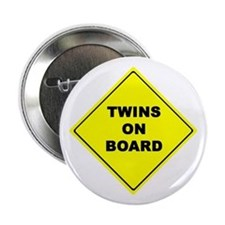 "Twins On Board traffic sign Maternity 2.25"" Button"