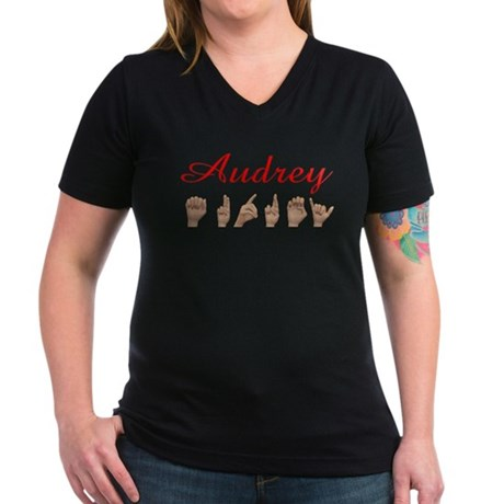 Audrey Women's V-Neck Dark T-Shirt