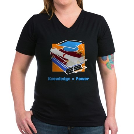 Knowledge is Power Women's V-Neck Dark T-Shirt