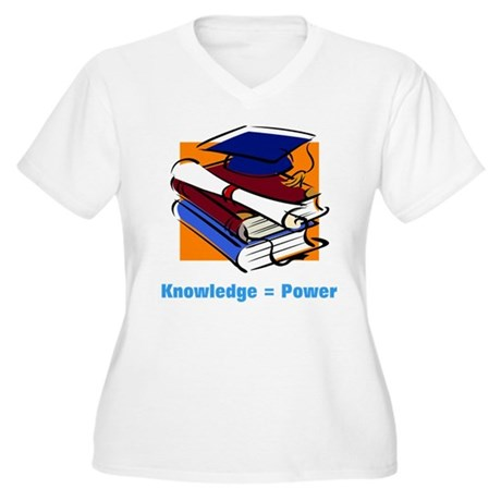 Knowledge is Power Women's Plus Size V-Neck T-Shir