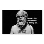 Socrates: Wisdom from Leisure Sticker (Rectangular