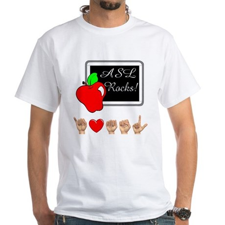 I Love ASL Male White T-Shirt