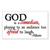 God is a Comedian Rectangle Decal