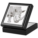 Rhino Pointillism Keepsake Box
