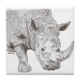 Rhino Pointillism Tile Coaster