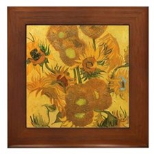 Van Gogh Vase w Sunflowers Framed Tile