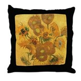 Van Gogh: 15 Sunflowers Throw Pillow