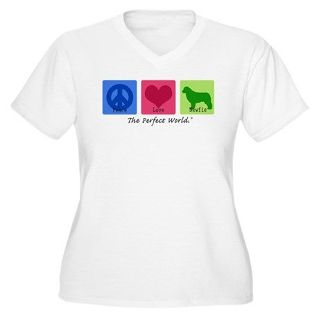 Peace Love Newfie Women's Plus Size V-Neck T-Shirt