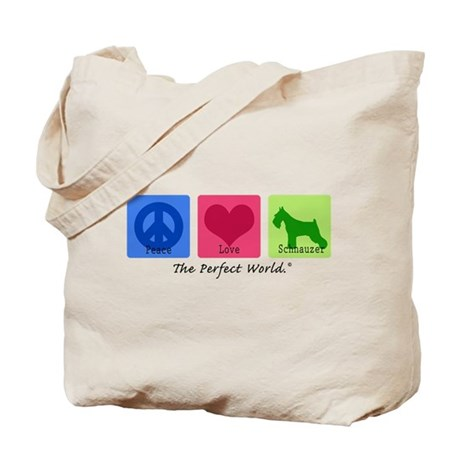 Peace Love Schnauzer Tote Bag