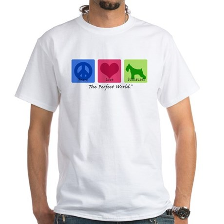Peace Love Schnauzer White T-Shirt