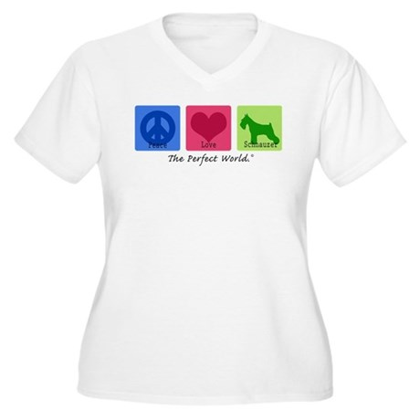 Peace Love Schnauzer Women's Plus Size V-Neck T-Sh