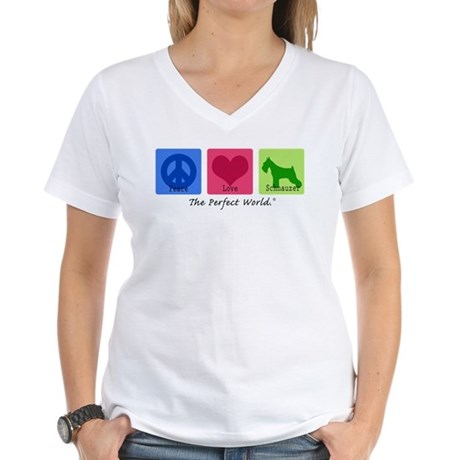 Peace Love Schnauzer Women's V-Neck T-Shirt