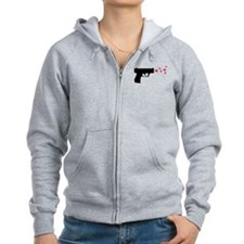 black pistol 9mm star gun Zip Hoodie