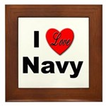 I Love Navy Framed Tile