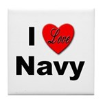 I Love Navy Tile Coaster