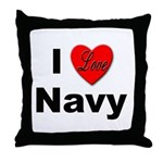 I Love Navy Throw Pillow