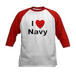 I Love Navy (Front) Kids Baseball Jersey