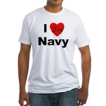 I Love Navy (Front) Fitted T-Shirt