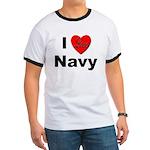 I Love Navy Ringer T