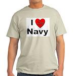 I Love Navy (Front) Ash Grey T-Shirt
