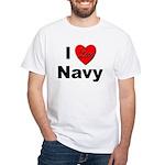 I Love Navy (Front) White T-Shirt