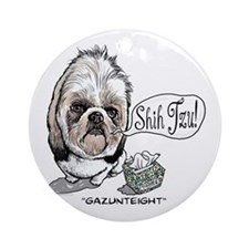 Cute Shih Tzu Ornament (Round)