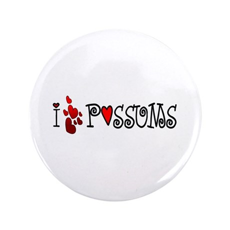 "I Love Hearts Possums 3.5"" Button (100 pack)"