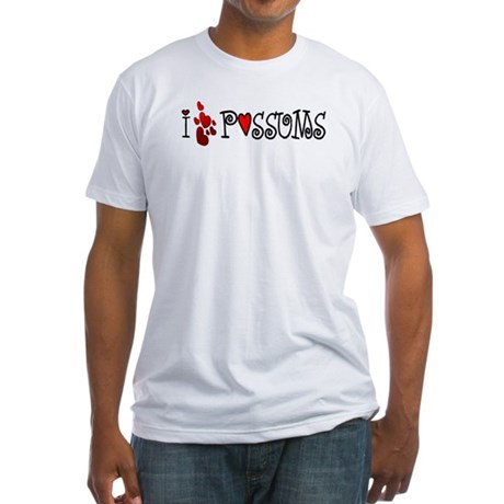 I Love Hearts Possums Fitted T-Shirt