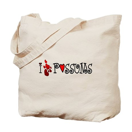 I Love Hearts Possums Tote Bag